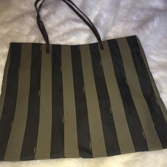62e1e53619 Fendi Handbags - Authentic Fendi Pequin Roll Canvas Stripe Tote